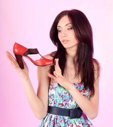 Free Glamorous Girl Wearing Colorful Dress With Shoes Stock Photo - 19107830