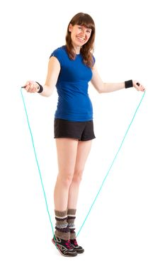 Free Young Woman Jumping On Skipping Rope Royalty Free Stock Photography - 19109027