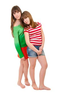 Full-length Portrait Of Two Girls Royalty Free Stock Images