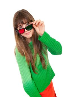 Free Girl Wearing 3D Glasses Royalty Free Stock Images - 19109219