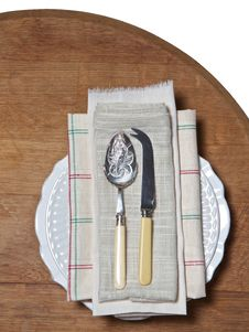 Old Spoon And Fork On Plate Stock Photo