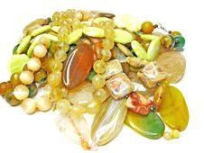 Free Heap Of Yellow Semiprecious Beads Royalty Free Stock Images - 19110509