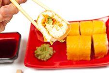 Free Men S Hand Holding Sushi Stock Image - 19110921