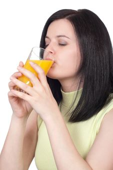 Free Woman With A Glass Of Oranges Juice Stock Photography - 19113632