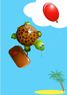 Free Turtle With A Balloon Stock Photography - 19113962