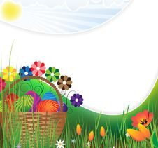 Free Easter Basket On A Green Meadow Royalty Free Stock Photo - 19114195