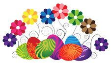 Free Easter Eggs And Wild Flowers On White Royalty Free Stock Photography - 19114207
