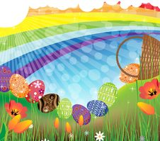 Free Rainbow Easter Landscape Royalty Free Stock Photo - 19114225