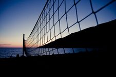 Free Volleyball Net At Sunset Royalty Free Stock Image - 19114316