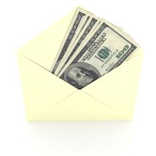 Free Dollars Sign In Envelope Over White Background Royalty Free Stock Image - 19115016