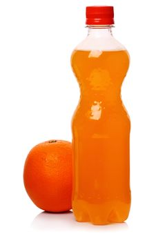 Free Bottle Of Soda And Orange Royalty Free Stock Images - 19115269