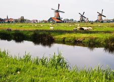 Dutch Windmills In Netherlands Stock Photos