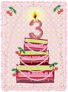 Birthday  Background With Cake Royalty Free Stock Photo