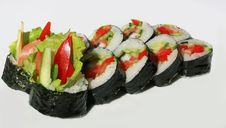 Tasty Sushi Set With Fish Stock Photos