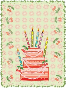 Birthday  Background With Cake Royalty Free Stock Images