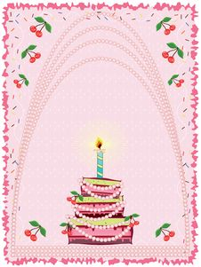 Birthday  Background With Cake Stock Photography