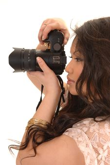 Free Pretty Asian Girl With Camera. Royalty Free Stock Photos - 19117188