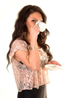 Girl Drinking Coffee. Stock Photos