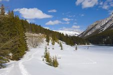 Free Snow Shoeing In Banff National Park Stock Images - 19117214