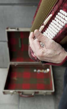 Man Playing Accordian Stock Photography