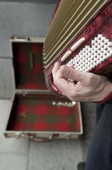 Man Playing Accordian Royalty Free Stock Images