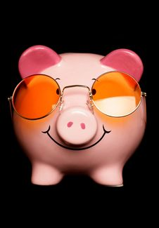 Piggy Bank With Sunglasses Royalty Free Stock Image