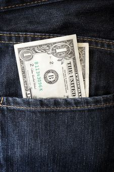 Free Dollars In A Jeans Stock Photography - 19119592