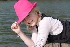 Free Girl In The Pink Hat Royalty Free Stock Images - 19120569