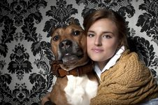 Free Girl With American Staffordshire Terrier Stock Photos - 19120703