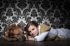 Free Girl With American Staffordshire Terrier Royalty Free Stock Image - 19120756
