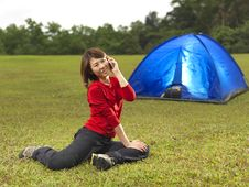 Free Asian Chinese Camper Using Phone Royalty Free Stock Photography - 19122437