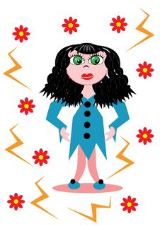 Free Little Cartoon Girl Royalty Free Stock Image - 19122886