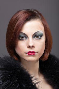 Woman Portrait With Fur Boa In Retro Style Stock Photo