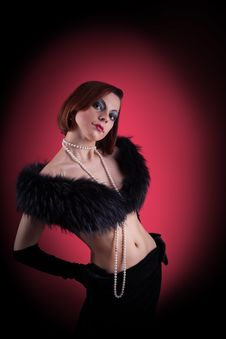 Woman Portrait With Fur Boa In Retro Style Royalty Free Stock Photography