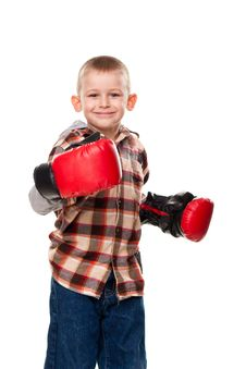 Free Cute Boy In The Boxing Gloves Stock Image - 19124051