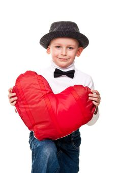 Free Cute Boy With Red Heart Stock Photography - 19124092