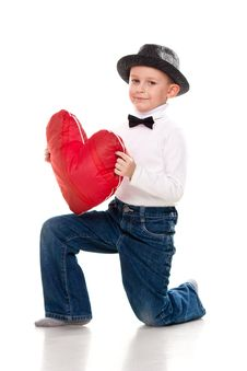 Free Cute Boy With Red Heart Royalty Free Stock Photos - 19124098