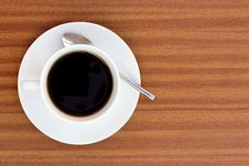 Free Black Coffee On Wooden Table Stock Photos - 19126053