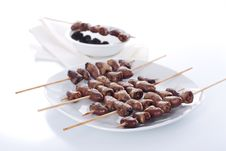 Free Grilled Chicken Hearts On Skewers Stock Photo - 19127390
