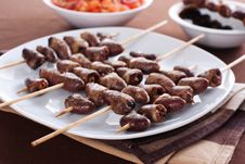 Grilled Chicken Hearts On Skewers Royalty Free Stock Photos