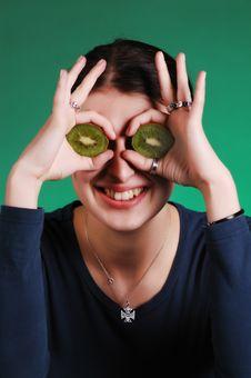 Woman With Kiwi Eyes Royalty Free Stock Photos