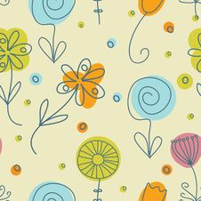 Free Vintage Flowers. Seamless Pattern Royalty Free Stock Image - 19128196