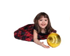 Free Adorable Little Girl Playing With Christmas Bulb Royalty Free Stock Photography - 19128537