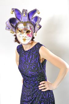 Free Girl In A Venetian Mask Isolated Royalty Free Stock Photos - 19128688