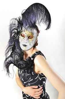 Free Girl In A Venetian Mask Isolated Stock Photos - 19128693