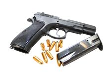 Gun And Bullets Royalty Free Stock Photo
