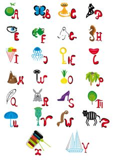 English Animated Alphabet Royalty Free Stock Photos