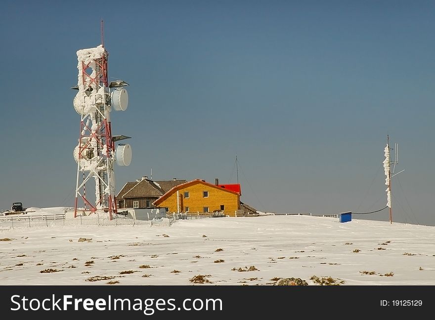 Ice covered weather station