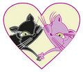 Free Cats In Love. Vector Illustration Stock Image - 19136981