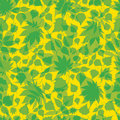 Free Seamless Green Floral Pattern With Leafs Stock Photos - 19137923